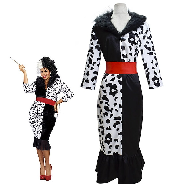 One Hundred and One Dalmatians Cruella De Vil Dress Masquerade Women's Movie Cosplay Vacation Halloween Black Dress 1 Belt Halloween Carnival Masquerade Polyester