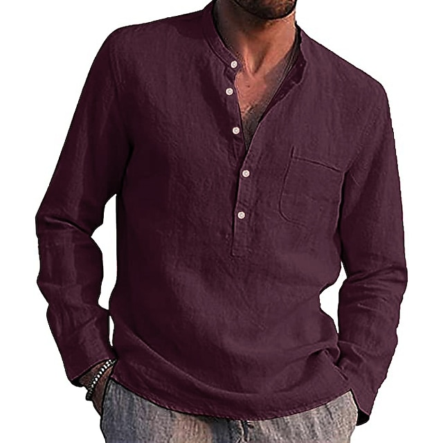 Men's Cotton Lined Stand Collar Henley Shirt Long Sleeve Tops Solid Color Casual