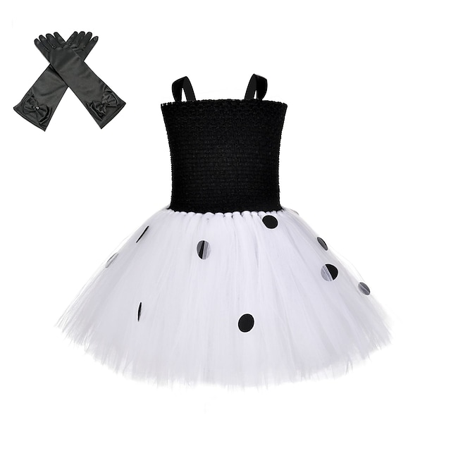 One Hundred and One Dalmatians Cruella De Vil Outfits Masquerade Girls' Movie Cosplay Vacation Halloween Black Dress Gloves Halloween Carnival Masquerade Polyester