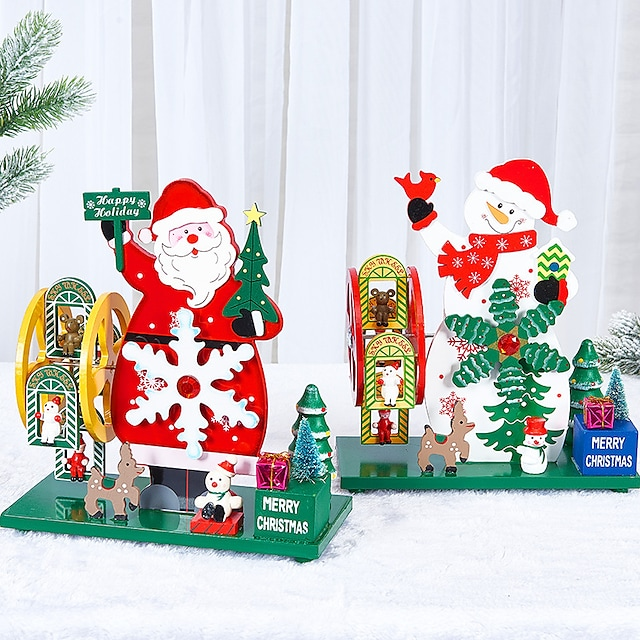 Christmas Gift High-End Wooden Christmas Tree Old Man Snowman Windmill Music Box Craft Decoration Wholesale