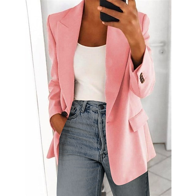 Women's Blazer Solid Color Classic Style Business Long Sleeve Coat Fall Spring Wedding Party Regular Jacket Pink / Notch lapel collar / Work / Oversized