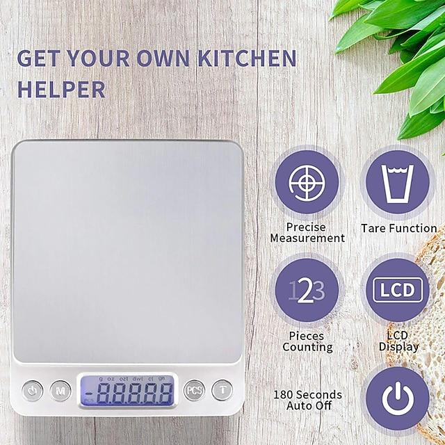 OEM di fabbrica I2000 Bilancia digitale tascabile mini 0.1g-2000g ±0,5 g Portatile Spegnimento automatico Display LCD Per la scuola o l'ufficio Vita domestica Cucina ogni giorno