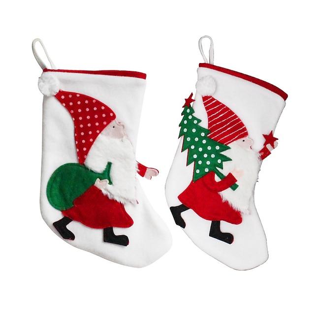 2pcs Christmas Stockings Santa Claus Candy Bag Party Decoration Stockings Christmas Tree Pendant Gift Bag