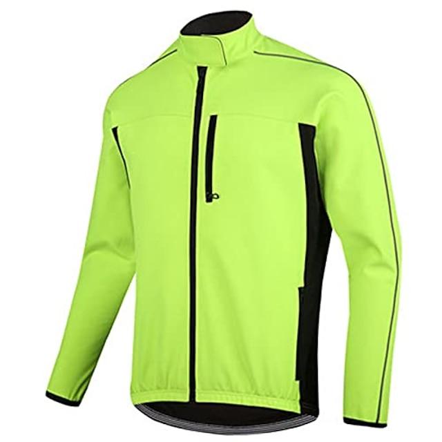 Men's Windbreaker Cycling Jersey Cycling Jacket Winter Fleece Elastane Bike Coat Top Thermal Warm Reflective Waterproof Sports fluorescent green Mountain Bike MTB Road Bike Cycling Clothing Apparel