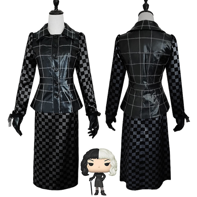 One Hundred and One Dalmatians Cruella De Vil Outfits Masquerade Women's Movie Cosplay Vacation Halloween Black Top Skirt Gloves Halloween Carnival Masquerade Polyester