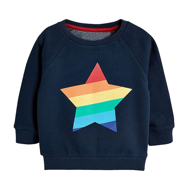 Kids Boys' Sweatshirt Long Sleeve Cartoon Graphic Dusty Blue Children Tops Fall Active Cool Regular Fit 3-8 Years