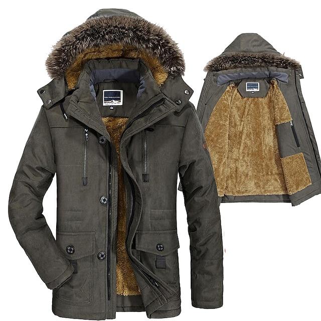 Men's Hiking Down Jacket Winter Outdoor Solid Color Windproof Fleece Lining Warm Jacket Parka khaki Black Army Green Dark Blue