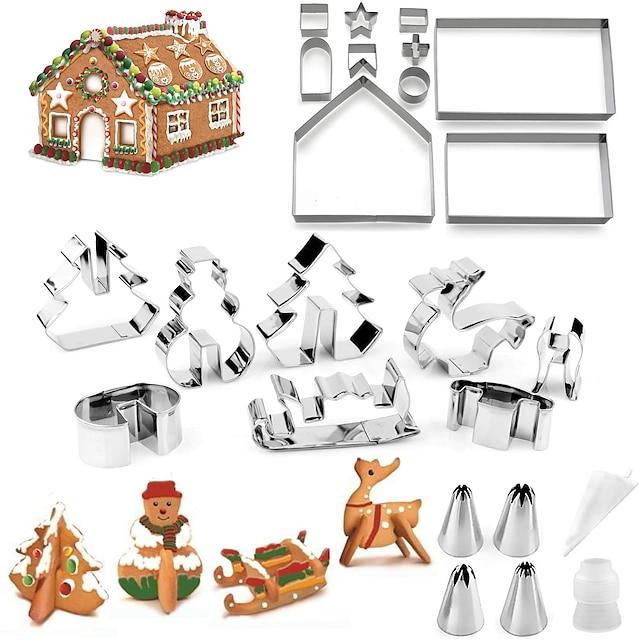 cookie cutters for pepperkakehus malform, 18 stk ingefær breadman house cutter kit jul til søte barn