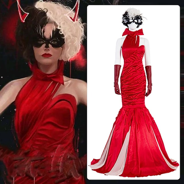 One Hundred and One Dalmatians Cruella De Vil Outfits Masquerade Women's Movie Cosplay Vacation Halloween Red Dress Gloves Wig Halloween Carnival Masquerade Polyester / Eye Mask