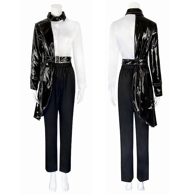 One Hundred and One Dalmatians Cruella De Vil Outfits Masquerade Women's Movie Cosplay Vacation Halloween Black Blouses Coat Pants Halloween Carnival Masquerade Polyester / Gloves / 1 Belt / Gloves