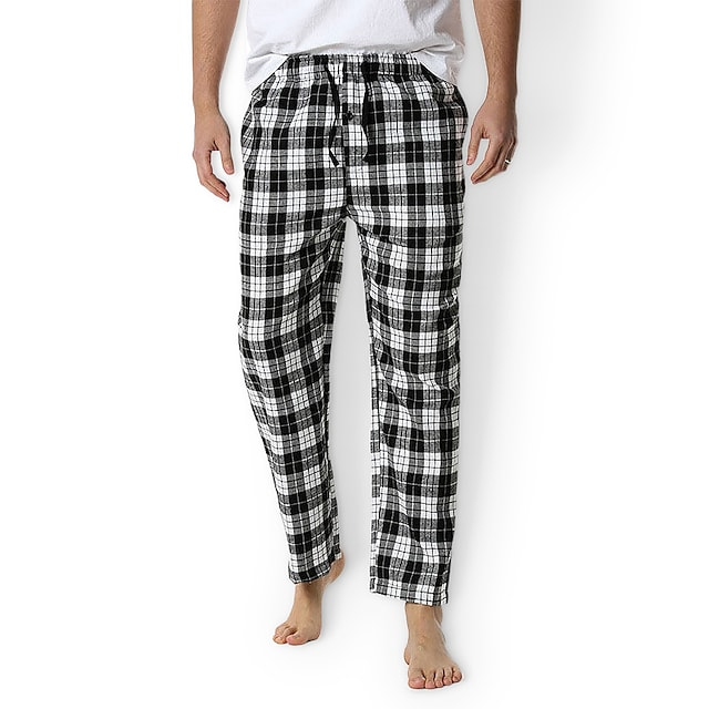 Litb Basic Men's ottom Home Casual Check Pattern Plaid Cotton Casual / Daily Pant Spring, Fall, Winter, Summer Drawstring 1 PC