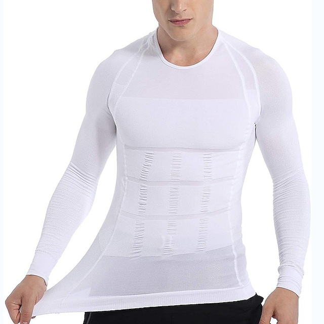 Men's Crew Neck Compression Shirt Yoga Top Winter White Black Spandex Yoga Fitness Gym Workout T Shirt Top Long Sleeve Sport Activewear Quick Dry Moisture Wicking Lightweight High Elasticity