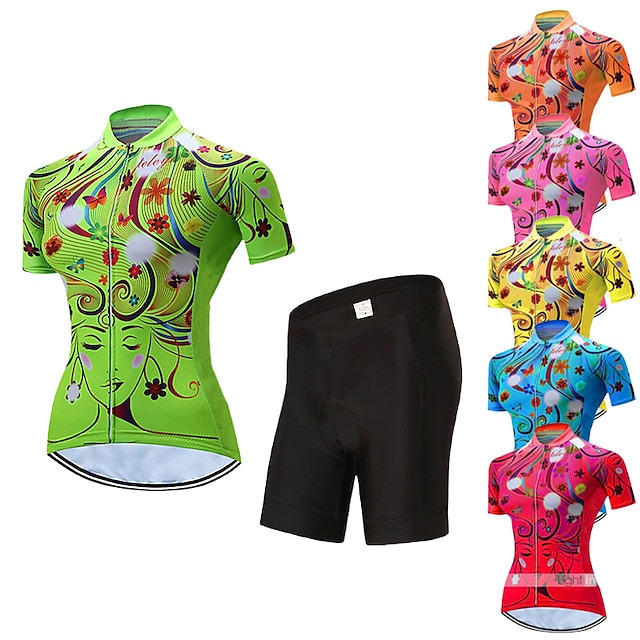 21Grams Women's Short Sleeve Cycling Jersey with Shorts Summer Spandex Polyester Yellow Red Blue Floral Botanical Bike Clothing Suit 3D Pad Quick Dry Moisture Wicking Breathable Reflective Strips