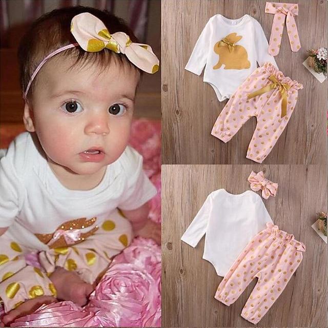 2 Pieces Baby Girls' Children's Day T-shirt & Pants Clothing Set Casual Cotton Blushing Pink Animal Print Long Sleeve Regular / Fall / Spring