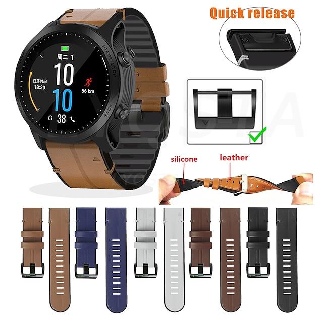 bracelet de montre intelligente bracelet en cuir pour garmin fenix 5x / fenix 5x plus / fenix 6x / fenix 6x pro / fenix 3 / fenix 3 hr 26 mm bande de remplacement rapide pour smartwatch (marron clair)