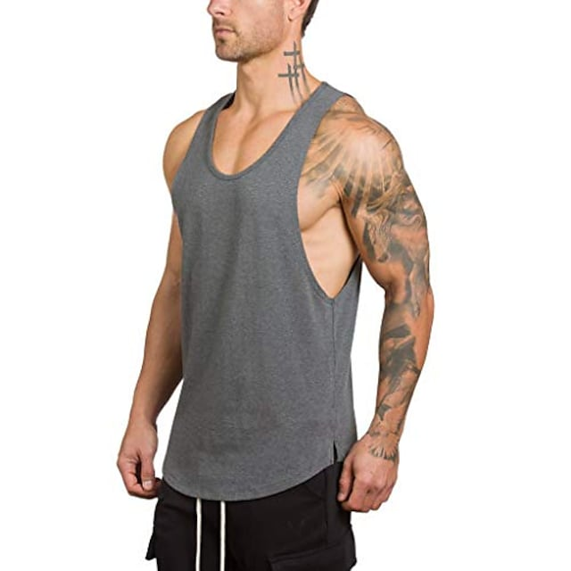 mens tank tops workout shirts bodybuilding stringer tank top sleeveless fitness vest (gray(no print no hooded), x-large)