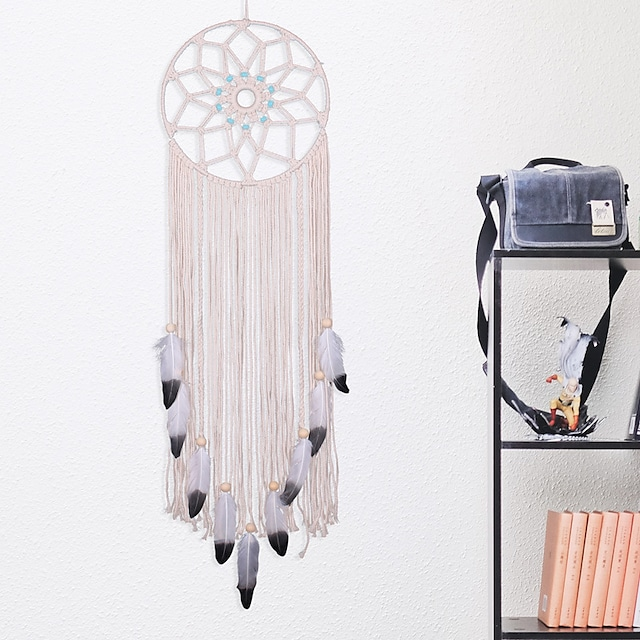 New turquoise hand-woven Dream catcher Nordic cotton woven home wall tapestry