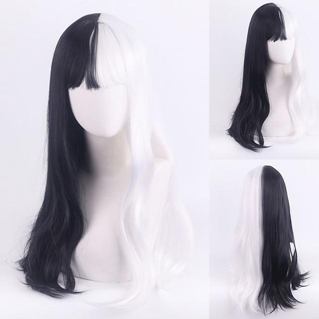 101 Dalmatians Cruella De Vil Cosplay Wigs Women's With Bangs / Heat Resistant Fiber Natural Straight Black Adults' Anime Wig