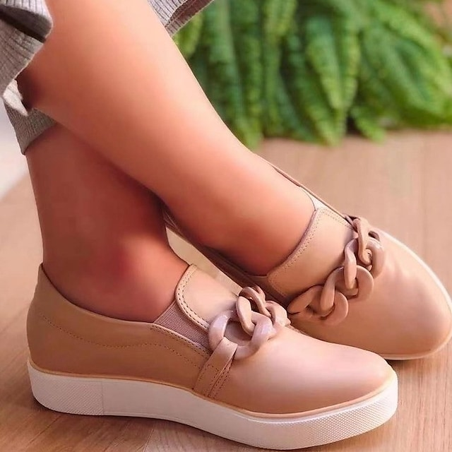 Women's Slip-Ons Flat Heel Round Toe PU Solid Colored White Black Beige