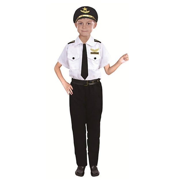 Police Cosplay Costume Kid's Boys' Halloween Halloween Halloween Festival / Holiday Polyster White Easy Carnival Costumes Solid Color / Hat / Tie / Waist Belt