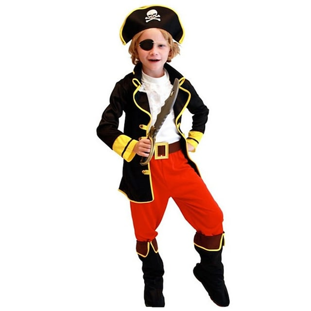Pirates of the Caribbean Cosplay Costume Kid's Boys' Halloween Halloween Halloween Festival / Holiday Polyster Red+Black Easy Carnival Costumes Solid Color / Vest / Hat / Waist Belt / Eye Mask