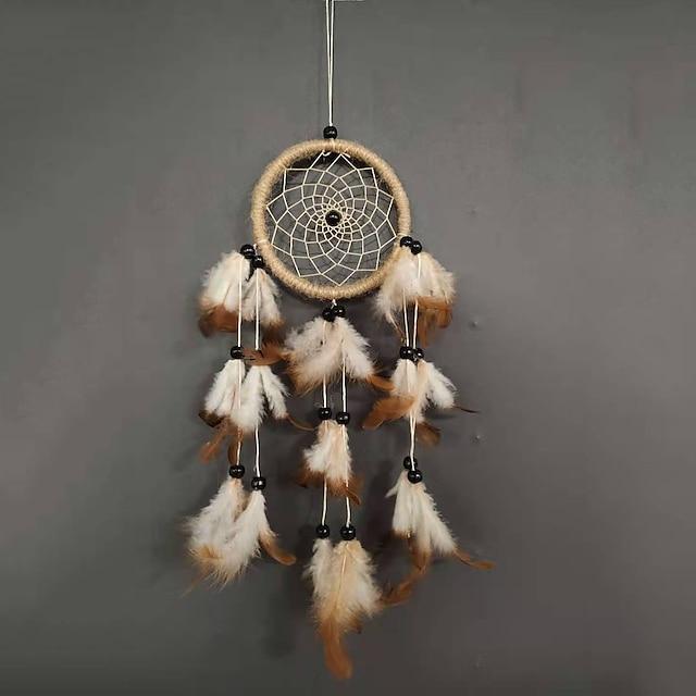 Creative handmade hemp rope wood bead dream catcher home dream catcher hanging decoration car feather pendant