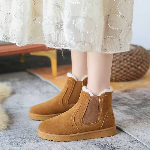 Women's Boots Flat Heel Round Toe Booties Ankle Boots Daily Work Suede Solid Colored Yellow Gray Black