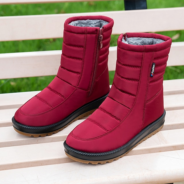 Women's Boots Flat Heel Round Toe Booties Ankle Boots Daily Outdoor Nylon Solid Colored Red Black Brown