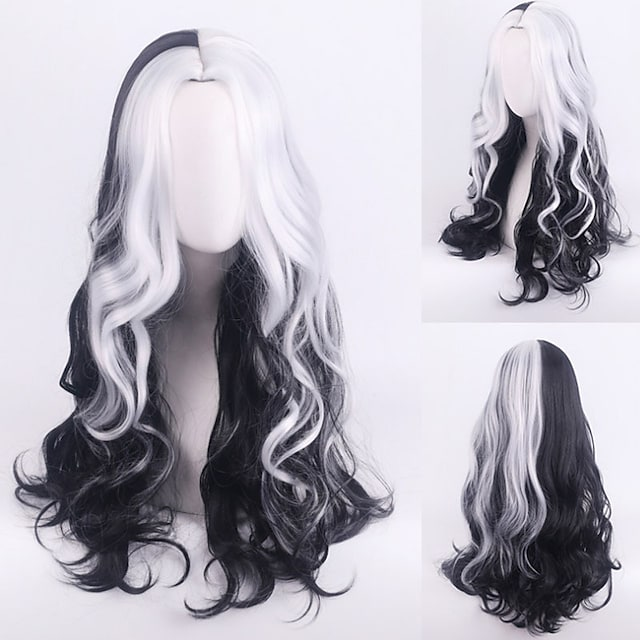 101 Dalmatians Cruella De Vil Cosplay Wigs Women's Middle Part / Heat Resistant Fiber Wavy Black Adults' Anime Wig