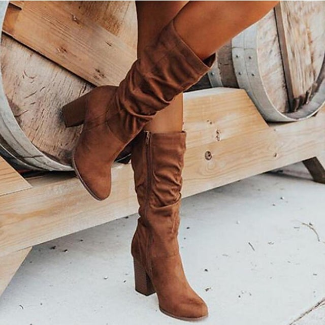 Women's Boots Chunky Heel Synthetics Solid Colored Light Brown