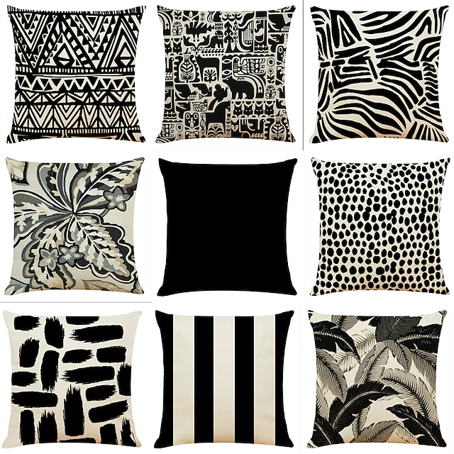 Geometric Black White Double Side Cushion Cover 9PC Soft Decorative Square Throw Pillow Cover Cushion Case Pillowcase for Bedroom Livingroom Superior Quality Machine Washable Indoor Cushion for Sofa Couch Bed Chair