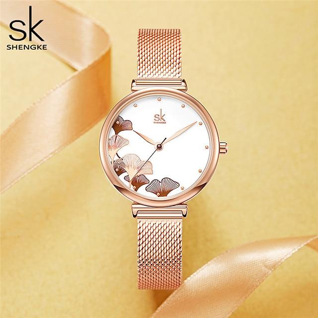 Shengke Women Watches Ginkgo Biloba 32 MM Dial Rosegold Mesh Band Montres Femme Japanese Quartz Movement Luxury Relogio Feminino