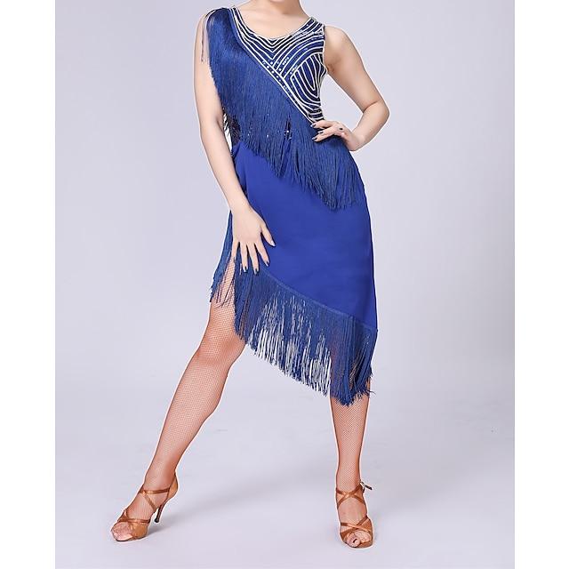Women Exotic Dancewear Latin Dance Dance Dancing Dress Exotic Dancewear Paillette Polyster Purple Blue Black Dress