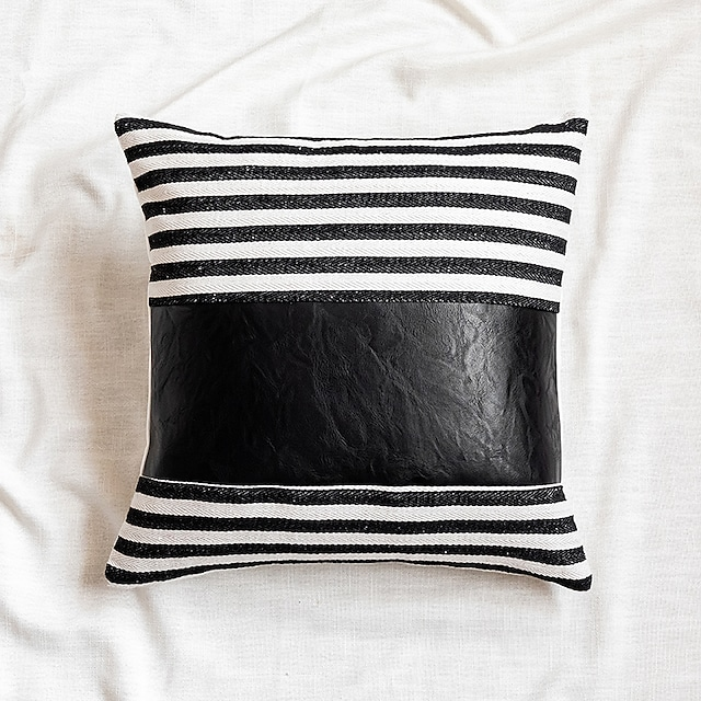 Striped PU Stitching Pillowcase Home Decoration Imitation Leather Hit Color Sofa Cushion Cover