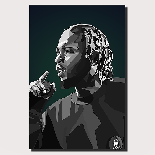 1 Panel Wall Art Canvas Prints Painting Artwork Picture Kendrick Lamar Rapper Musicain Painting Home Decoration Decor Rolled Canvas No Frame Unframed Unstretched