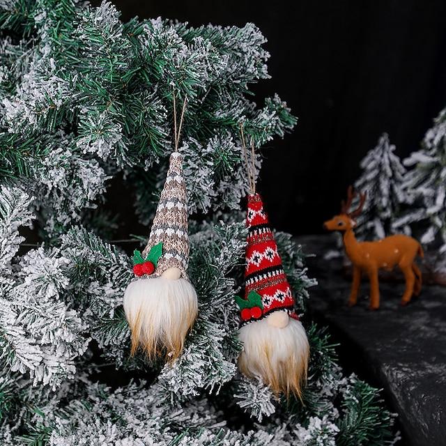 2pcs Christmas decorations wooden swing ornaments Christmas old man elk small gifts small gifts