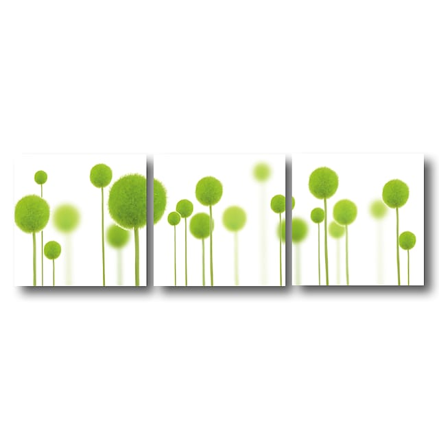 Stretched Canvas Print Painting Modern Abstract Wall Art Deco Three Panels Green Flowers Plants Ready to Hang
