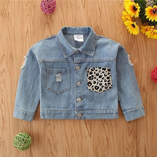 Toddler Girls' Jacket Coat Long Sleeve Gray Leopard Pocket Street Vacation Active Basic 2-6 Years