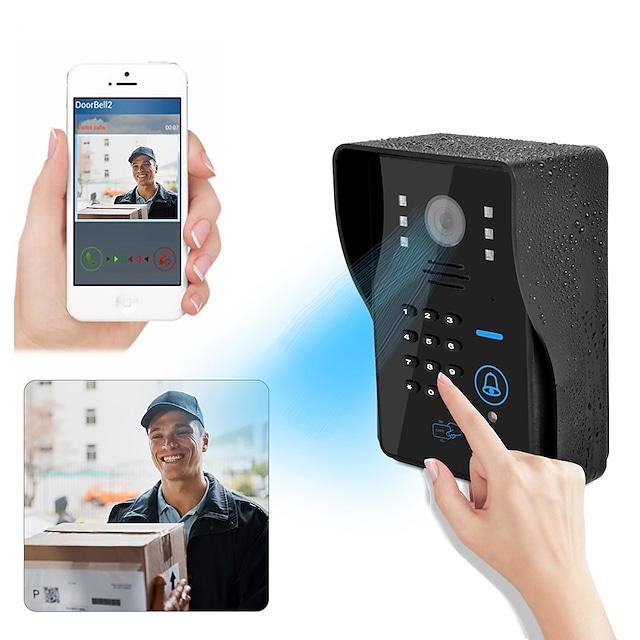 1080P HD WiFi Doorbell Camera Smart Wireless Doorbell Video Intercom Security Camera Outdoor IR Night Vision 2MP with RFID and Password Face recognition unlock