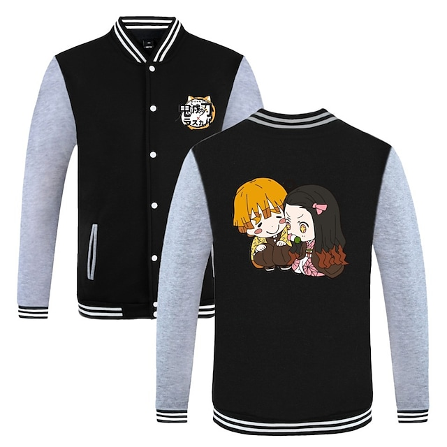 Inspired by Demon Slayer Kamado Tanjirou Varsity Jacket Poly / Cotton Anime Harajuku Graphic Kawaii Coat For Men's / Women's