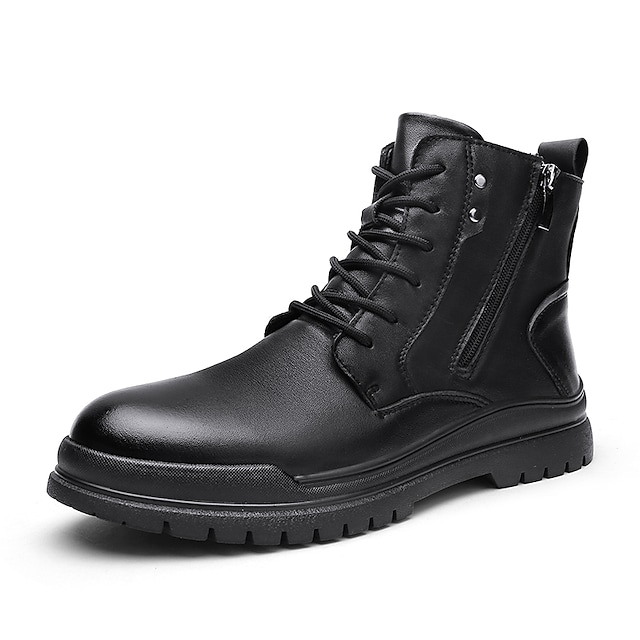 Men's Unisex Boots Casual Vintage Classic Daily Outdoor Leather Booties / Ankle Boots Black Fall Winter