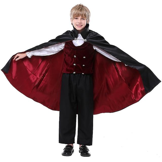 Prince Vampire Cosplay Costume Kid's Boys' Halloween Halloween Halloween Carnival Festival / Holiday Terylene Black Easy Carnival Costumes Solid Color / Vest / Blouse / Pants / Gloves / Cloak