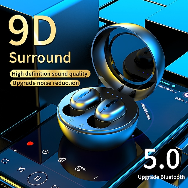 A1 True Wireless Headphones TWS Earbuds Bluetooth5.0 with Microphone with Charging Box Fast Charging for Apple Samsung Huawei Xiaomi MI  Fitness Running Traveling Mobile Phone