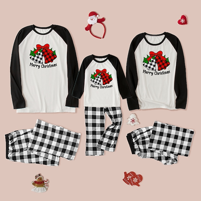 Christmas Pajamas Family Look Check Letter Daily Patchwork Black Long Sleeve Daily Matching Outfits