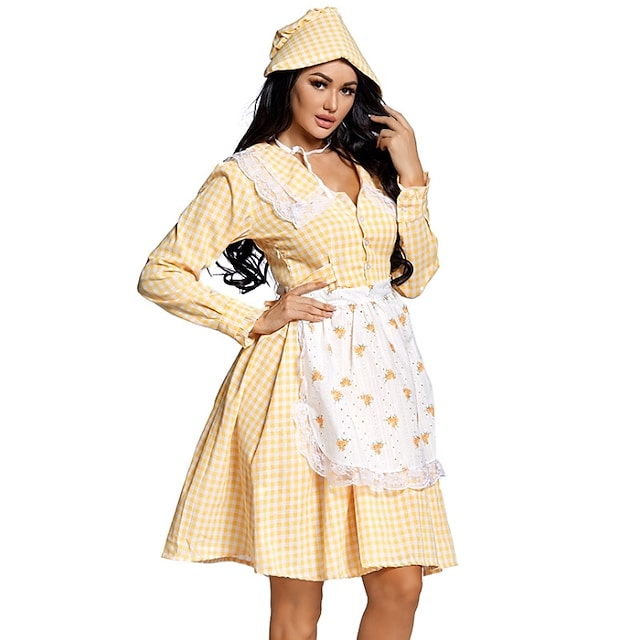 Uniforms Cosplay Costume Adults' Women's Halloween Halloween Festival Halloween Festival / Holiday Terylene Yellow Women's Easy Carnival Costumes Plaid / Check / Dress / Apron / Hat