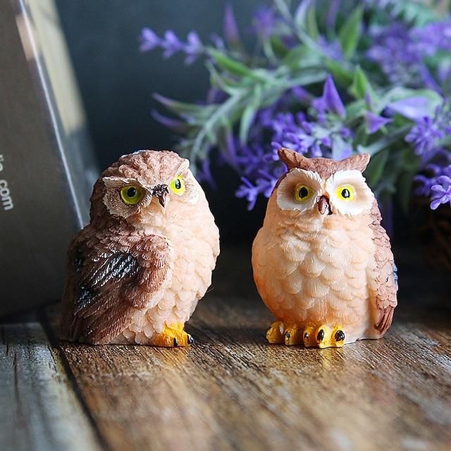 2pcsCreative Cartoon Owl Resin Crafts Living Room Porch Desktop Animal Decoration