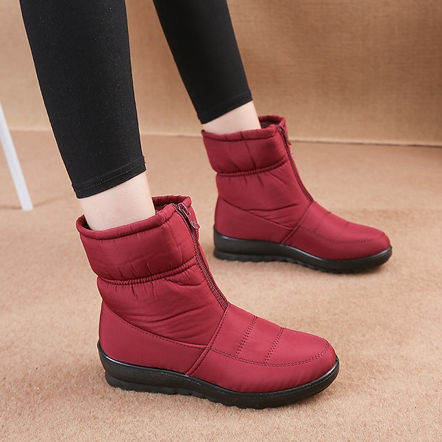 Women's Boots Flat Heel Round Toe Booties Ankle Boots Daily Outdoor Nylon Check Red Black Brown