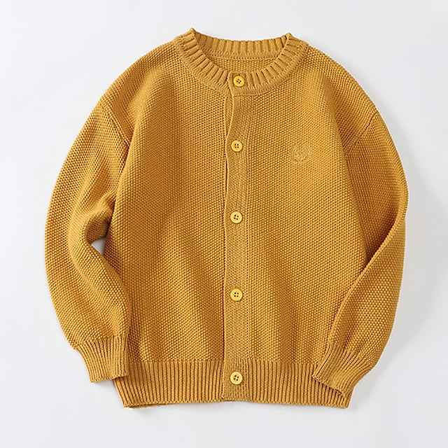Kids Girls' Cardigan Long Sleeve Yellow Black Red Solid Color Ruched Indoor Outdoor Active Daily 3-12 Years