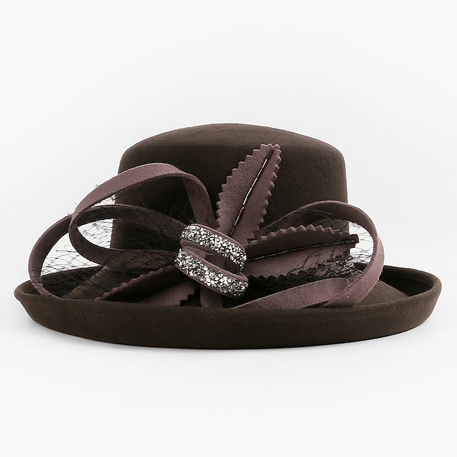 Flower Style Elegant 100% Wool Fascinators / Hats / Headwear with Bowknot 1pc Party / Evening / Casual Headpiece