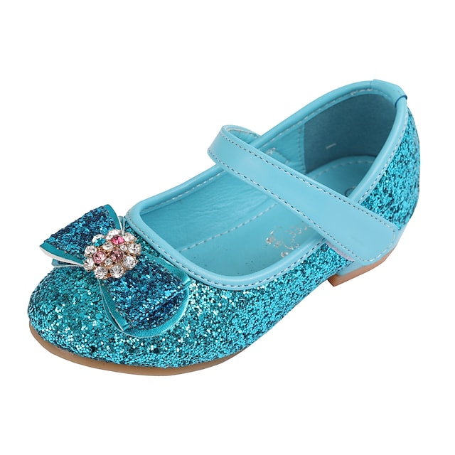 Girls' Heels Glitters Flower Girl Shoes PU Little Kids(4-7ys) Toddler(2-4ys) Party Wedding Sequin Crystals / Rhinestones Blue Pink Silver Fall Spring